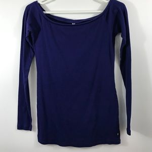 FABLETICS Long Sleeved RIBBED Blue Tee T-Shirt